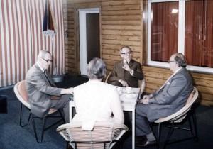Herbert und Greta Wehner, Erich Honecker und Wolfgang Mischnick am 31.5.1973 in der Schorfheide